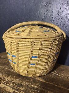 Vintage Woven Lidded Basket, Seagrass Woven Basket.