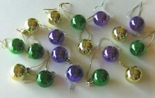 Mardi Gras Miniature Ornaments Balls Non Shatter 18 Gold Green and Purple Shiny