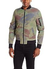 GUESS Mens Exploded Brush Bomber Jacket Paint Brush Camo Black Forest Small