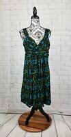 Apt 9 size l women's stretch sleeveless geometric print dress nwt faux wrap rr03