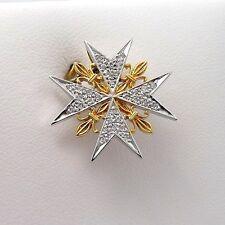 NEW 18K 2 Tone Gold Pave Diamond Orders of Chivalry France Maltese Cross Pendant