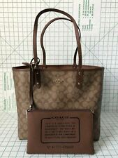 Coach F36658 Reversible City Tote In Signature Khaiki saddle