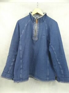 Fat Face Men's Pullover Jumper Quarter Zip Blue Size Large Used Good Condition
