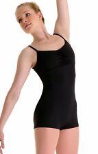NWT Dance Bloch Black Camisole Short Unitard Smock Front Small Adult U4370