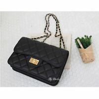 Womens Genuine Leather Shoulder Bag Quilted Chain Cross Body Bag Handbag 3229
