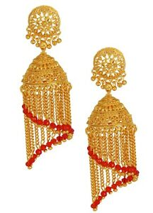 Indian Bollywood Red Pearl Gold Plated Jhumka Jhumki Wedding Fashion Earrings