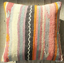 (40*40cm, 16in) Boho Style Vintage Handwoven Cushion Cover Pastel soft stripes