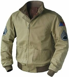 Mens B Pitt Vintage WW2 Fury Tanker Military Patch Bomber Cotton Jacket