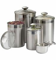 Beautiful Canister Set for Kitchen 8-Piece Stainless Steel w/Airtight Glass Lids