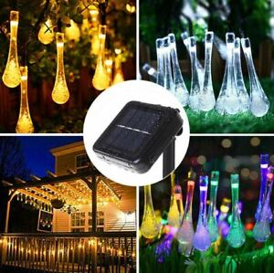20 LED Solar Power String Fairy Lights Raindrop Teardrop Outdoor Garden Party UK