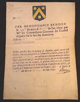 PROOF OF NOBILITY PARCHMENT 1698