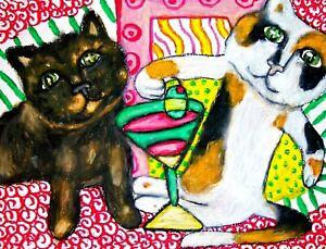 Calico Cat drinking Martini Art Print 4 x 6 | Collectible Artist KSams | Kitties