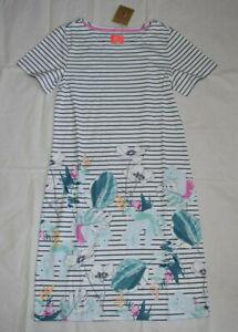Joules Printed Short Sleeve Jersey Dress UK10 Palm Stripe 100% Cotton EU38 US6
