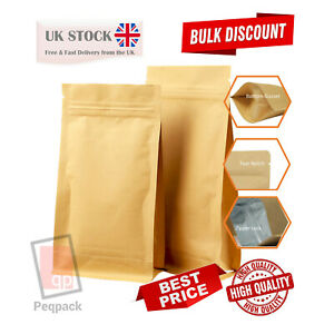Kraft Flat bottom Stand Up Pouche Mylar Food Grade Zip Lock Heat Resealable Bag