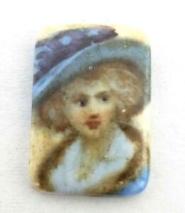 Antique Suffragette ? Woman Curved Rectangle Painted Porcelain Stone   #J207