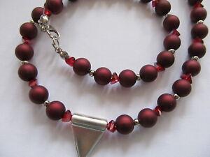 Halskette Collier matt rot glänzend silber **NEU**  Damenschmuck Damenkette