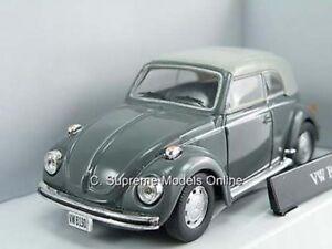 VOLKSWAGEN BEETLE CABRIOLET CAR 1/43 VW MODEL GREY HOOD UP EXAMPLE T3412Z (=)