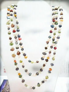 handmade natural 6-7 mm Colorful pearl long necklace big baroque beads 45 inch