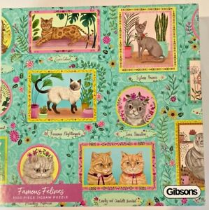 Jigsaw Puzzle Famous Felines 1000pc Gibsons  Cat Colourful G6603 Eco Friendly