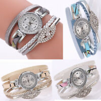 Fashion Women Girls Leather Winding Strap Watches Bracelet Quartz Analog Watch