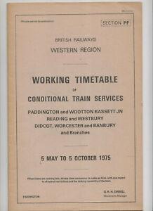 1975 Western Region Cond. Working Timetable Sect. PF Westbury, Reading, Banbury