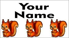 65 Personalised waterproof school name label sticker Squirrel for shoes,bottle