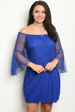 Women's Plus Size Royal Blue Mesh Lace Dress with Long Bell Sleeves 1XL NWT