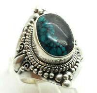 Handmade Detailed Oval Turquoise Sterling Silver 925 Ring 9g Sz.6.75 TOM028