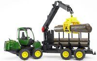 Bruder Toys John Deere 1210E Forwarder Log Hauler w/ Grab and 4 Trunks 09805 NEW