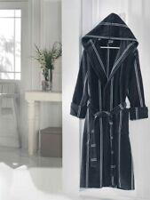 100% Cotton Luxury Velours Long-Hooded Bathrobe (M, NAVY BLUE)