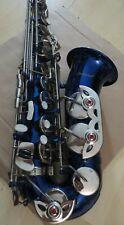 blaues Alt Saxophon Eb mit  Ständer  und Zubehör +  Extra Gurt  #11#