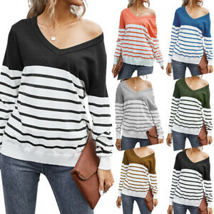 UK Casual Blouse Women V-Neck Long Sleeve Stripe Stitching Pullover Sweater Tops