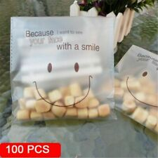 100pcs Self Adhesive Cookie Candy Baking Bag Package Plastic Gift Smile Face Bag