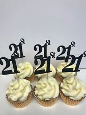 21st BIRTHDAY OR ANNIVERSARY GLITTER BLACK Or SILVER CUP CAKE TOPPERS X 12
