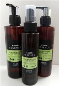 Avon Essence Lemongrass & Coconut Hand Wash, Hand Lotion & Room Spray Sets SALE
