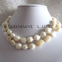 """32"""" 10-12mm White Baroque Freshwater Mother of Pearl Necklace Jewelry U"""