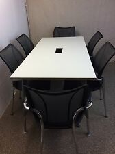 White Meeting table with Adjustable Legs