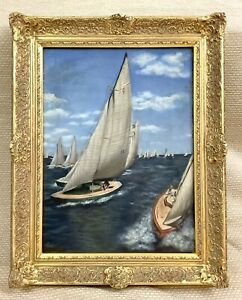 1950 Vintage Framed Oil Painting Sailing Boats Maritime Nautical Regatta Signed