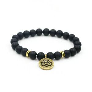 Black Agate Bead Bracelet Lotus Flower Charm Free Bag Reiki Chakra UK Seller