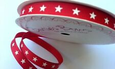 5m Bertie's Bows 9mm Ivory Stars on Red Grosgrain Ribbon, Gift Wrap, Christmas