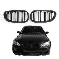 Pair Front Hood Kidney Grille Matte Black For 2004-2009 BMW 5-Series E60 E61 New