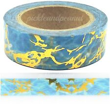 Marble Gold Foil Washi Tape Blue Decorative Masking Self Adhesive 15mm x 10m