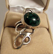 Native American Dark Green Turquoise Ring Unmarked Silver Mount 8.8 GR Size 6.5