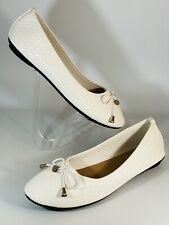 Studio Women's Flat Shoes Ballerina Bow White Vowen Pattern Size 6 Uk 39 Eu
