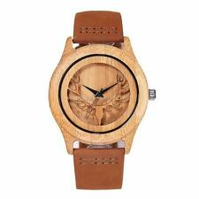 Newest Bamboo Wooden Watches Cool Deer Head Skeleton Watch for Man Women as Gift