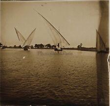 Voyage en Égypte Le Nil Felouques Plaque de verre stereo Vintage 1909