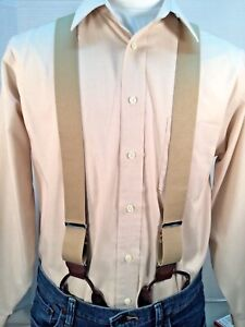 "New, Men's Khaki, Dressy Button-On, XL, 1.5"",Suspenders / Braces, Made in USA"
