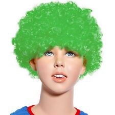 80s Curly Afro Wig Party Clown Funky Disco Kids Childs Adult Costume Green Hair