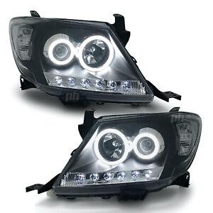 Headlights Black DRL Projector HALO Angel Eyes Fits Toyota Hilux N70 2005-04/11