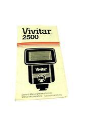 Vintage 1981 VIVITAR 2500 ELECTRONIC FLASH USER MANUAL 3000612, Four Languages